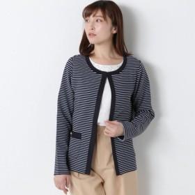 ジャケット レディース カラーレスジャケット【M〜3L】 「ネイビー」