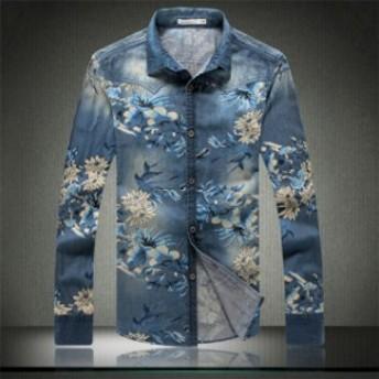 デニムシャツ 長袖シャツ 花柄シャツメンズ 細身 ストレッチ フラワー トップス おしゃれ 大きいサイズ