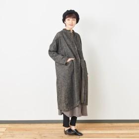 ウール混起毛素材のスタンドカラーシャツワンピース