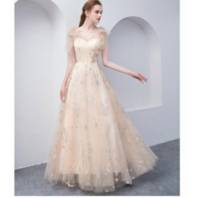 Aライン 上品 ウェディングドレス 花嫁 お呼ばれドレス 披露宴 パーティドレス ロング丈ドレス 二次會ドレス 卒業式 大人気