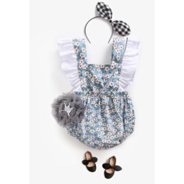 fac15d6078e ロンパース 女の子 花柄 フリル袖 出産祝い 可愛い 青 通販 LINEポイント ...