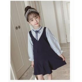 純色 長袖シャツ+ オーバーオール セットアップ サロペットスカート 2點セット キッズ/ベビー  女の子 上下セット