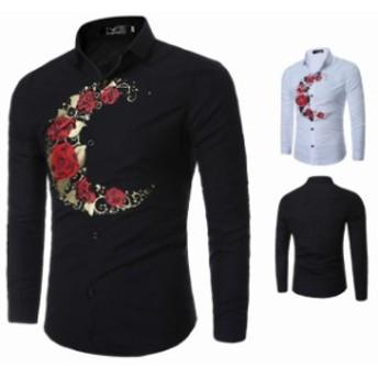 2カラー展開 おしゃれ 細身 花柄シャツ 長袖シャツ 歐米風 ビジネス通用 カジュルシャツ オープンシャツ プリントシャツ
