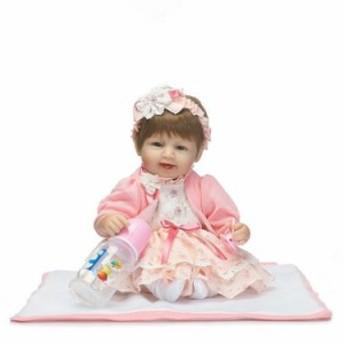 リボーンドール リアル赤ちゃん人形 ハンドメイド海外ドール 衣装とおしゃぶり・哺乳瓶付き満面の笑顔 おめかしドレスの女の子