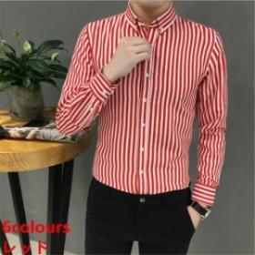 カジュアルシャツ トップス メンズ 新作 大きいサイズ ビジネス用ボーダー 長袖シャツ 細身 ストライプシャツ