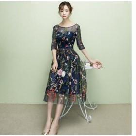二次會ドレス お呼ばれ 結婚式 ミモレ丈 可愛いパーティードレス大きいサイズシースルー ウェディングドレス 刺繍 ドレス