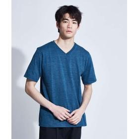 アバハウス 杢スラブ半袖VネックTシャツ メンズ グリーン 50 【ABAHOUSE】