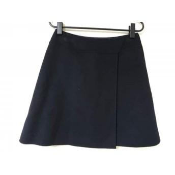 【中古】 フォクシー FOXEY スカート サイズ40 M レディース 黒 巻きスカート風