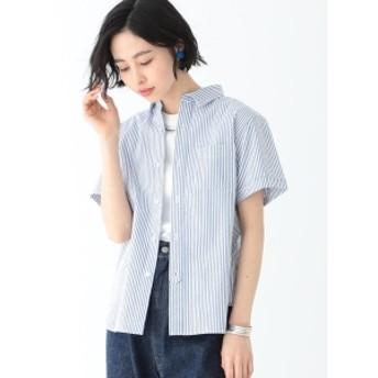 BEAMS BOY / シアサッカー ストライプ B.Dシャツ レディース カジュアルシャツ BLUE ONE SIZE