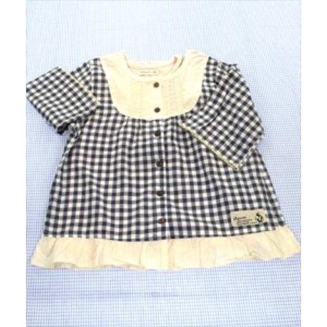 ビケット Biquette ブラウス Tシャツ 半袖 110cm ピンク/紺/白系 チェック トップス 女の子 キッズ 子供服 通販 買い取り