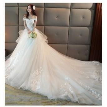 トレーン マーメイドドレス オフショルダーVネック花嫁ドレス 大きいサイズ妊娠 ウェディングドレス ブライダルドレス 二次會 レ