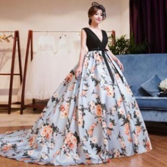 二次會 フォーマル 結婚式 お呼ばれ パーティードレス ドレス カラーロングドレス マーメイドドレス 花柄ドレス 演奏會 発表會