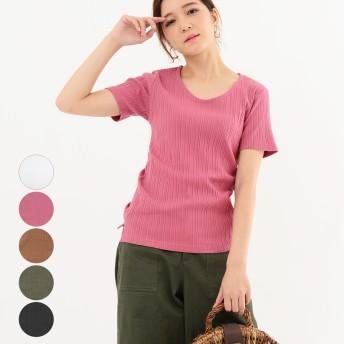 Tシャツ - LAPULE レディース ファッション 30代 20代 春 夏 トップス Tシャツ リブTシャツ カジュアル シンプル 半袖 ベーシック クルーネック