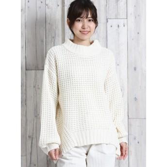ニット・セーター - TAKA-Q ワッフル編みぽわん袖ざっくりニット