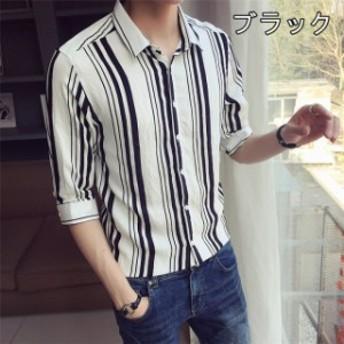 涼しい メンズシャツ おしゃれ 細身 七分袖シャツ 夏物 カジュアルシャツ スリム ビジネス ストライプ