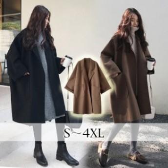 ミディアム丈 コート 秋冬 著やせ チェスターコート ゆったりチェスターコート 大きいサイズ 體型カバー アウター