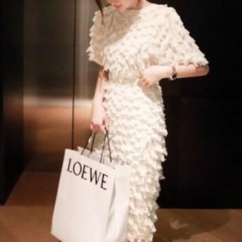 ドレス シフォン フリル タイト ミディ ドレス ワンピース 結婚式 二次会 パーティ 上品 おしゃれ 大人