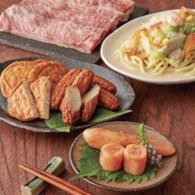 九州 うまいもの 4品 セット ちゃんぽん めんたいこ さつま揚げ 九州産 黒毛和牛 すき焼き 4種類入り 送料無料