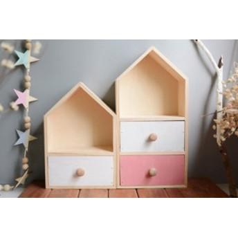 収納 棚 小物入れ ケース 雑貨 北欧 おしゃれ かわいい 子供部屋 収納ボックス お家 家 木製 木 二段タイプ インテリア 北欧インテリア