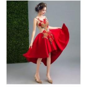 ノースリーブ/可愛いロングドレス/刺繍ウェディングドレス/パーティー/結婚式/演奏會/披露宴/二次會/忘年會/撮影用