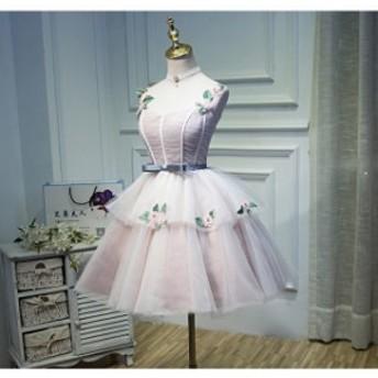 結婚式 撮影用 二次會 花嫁 豪華なミディアムドレス ボンボンスカート パーティードレス 披露宴 ウェディングドレス