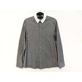 【中古】 スリーワンフィリップリム 3.1 Phillip lim 長袖シャツ サイズS メンズ ダークグレー 白