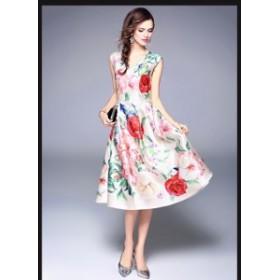 結婚式 大きいサイズ Aラインドレス お呼ばれドレス 花柄パーティドレス ワンピース 二次會 新作Vネックワンピース ドレス