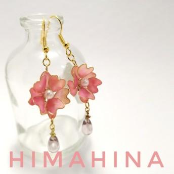八重桜と花びら雫のピアス&イヤリング