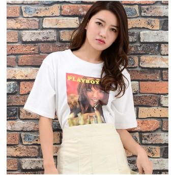 Tシャツ - Janiss PLAY BOYフォト半袖Tシャツ