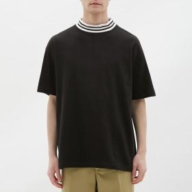 (GU)ビッグT(半袖)(リブライン) BLACK S
