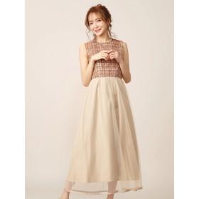 ドレス - MIIA オリジナルチェック刺繍ワンピース