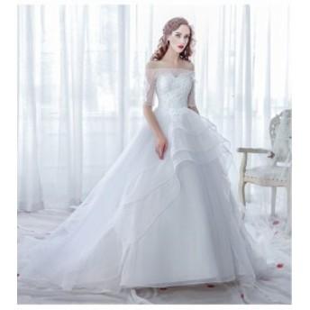 トレーンドレス花嫁ドレス 二次會 素敵なオフショルダーロングドレス お呼ばれドレス 大きいサイズ 披露宴 ウェディングドレス