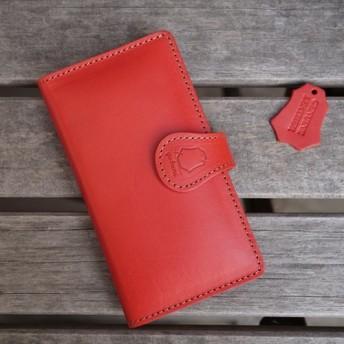 [全機種対応] iPhone Xperia 衝撃防止 クッション スマホケース 本革 レザー [SK02 Red]