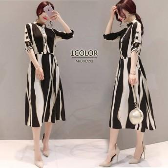 韓国ファッションバイカラーさらさらシャツワンピースチュニック ドレス 新作 レディース 通勤 OLスカート