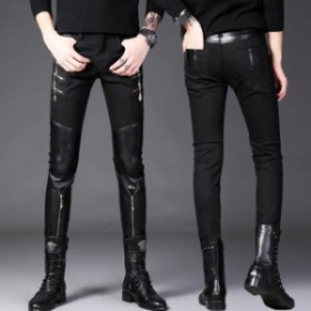 皮パンツ スキニーパンツペンシルパンツバイク用 メンズライダースパンツ 革パンツ