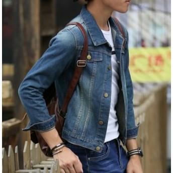 カジュアルジャケットS~XXXL學生ファッションjacket ジージャン スリム細身アウター 格好いい★長袖デニムコート メンズ