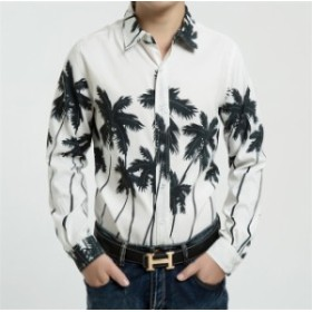 花柄シャツメンズ オープンカラーシャツトップス ビーチシャツ 長袖シャツプリントシャツ 開襟シャツ アロハシャツ カジュアルシャ