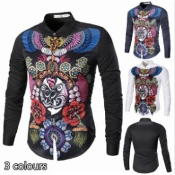 細身 3カラー展開 プリントシャツ カジュルシャツ 歐米風 長袖シャツ オープンシャツ おしゃれ