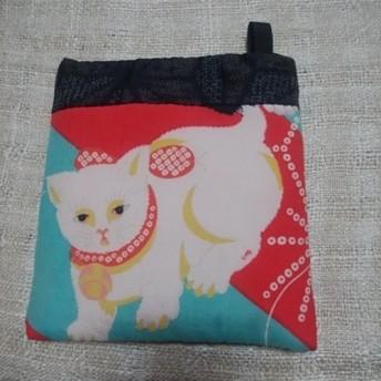 和布で創る小さなポシェット◆白猫◆アンティーク錦紗◆泥大島