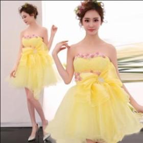 yellow可愛いドレス二次會/ミニウェディングドレス/パーティードレス/花嫁/結婚式/披露宴/ボンボンスカート/カラードレス/