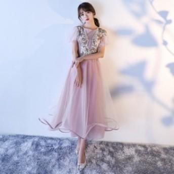 成人式 二次會 ウエディングドレス 披露宴 結婚式 新作袖ありミモレ丈ドレス 忘年會 花嫁 お呼ばれドレス パーティドレス