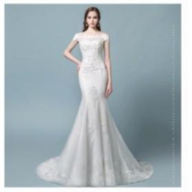 披露宴 姫系 高品質 ロングドレス マーメイドドレス 結婚式 パーティードレス トレーンドレス お呼ばれドレス ウエディングドレ