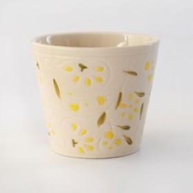 植木鉢 陶器 ハイミニフルールの鉢 イエロー φ10cm 高さ9cm