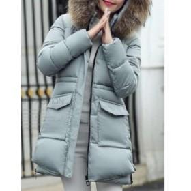 厚手シンプル  レディースアウター フェイクファー 愛用 上品ロングコート 大きいサイズ 秋冬通勤 スリムフード付き ロングジャ