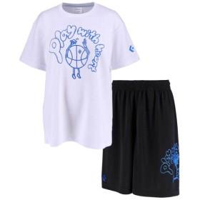 コンバース ウィメンズ プリントTシャツ&プラクティスパンツ上下セット ホワイト×ブラックRブルー converse CB391306-1100-CB391806-1925