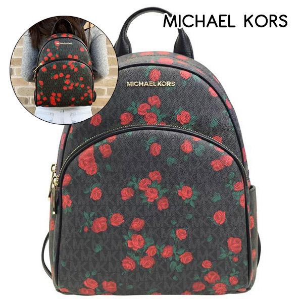 MICHAEL KORS MK 防刮皮革玫瑰圖案後背包(黑)