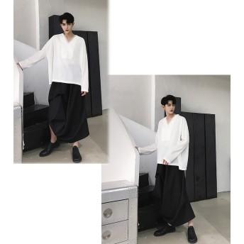 Tシャツ - BIG BANG FELLAS デザインシャツ 深いVネック ロンT ティーシャツ ロングスリーブ カットソー 長袖 メンズ メンズファッション 無地 インナー韓国ファッション ストリート系 カジュアル 夏 春 秋 個性 衣装韓流 原宿系 韓国ファッション 韓流 K