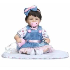 ee5a3b9b4ee0b リボーンドール リアル赤ちゃん人形 かわいいベビー人形 衣装とおしゃぶり・哺乳瓶付き ダークヘア