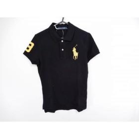 【中古】 ラルフローレン RalphLauren 半袖ポロシャツ サイズL レディース ビッグポニー 黒 ゴールド