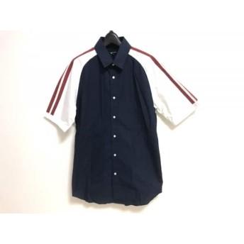 【中古】 ギルドプライム GUILD PRIME 半袖シャツ サイズ2 M メンズ 新品同様 ネイビー レッド 白